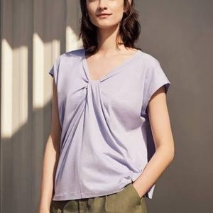 UNIQLO Pink Vneck Tuck Butterfly T-shirt